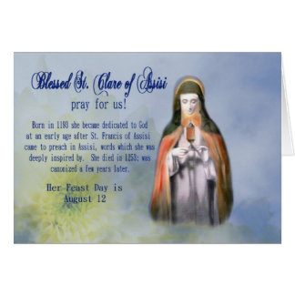 St. Clare Feast Day Greeting Card or Name Day