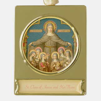 St. Clare of Assisi & Nuns (SAU 27) Gold Plated Banner Ornament