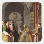St. Clare que recibe el velo de St Francis Pegatina Cuadrada