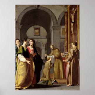 St. Clare que recibe el velo de St Francis Póster