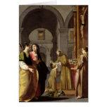 St. Clare que recibe el velo de St Francis Felicitaciones
