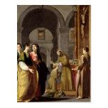 St. Clare que recibe el velo de St Francis Tarjeta Postal