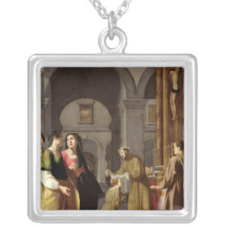 St. Clare Receiving the Veil from St. Francis Square Pendant Necklace