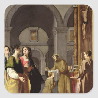 St. Clare Receiving the Veil from St. Francis Square Stickers