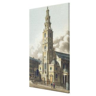 St. Clement Danes Church, pub. by Rudolph Ackerman Canvas Print