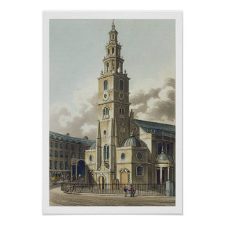 St. Clement Danes Church, pub. by Rudolph Ackerman Poster