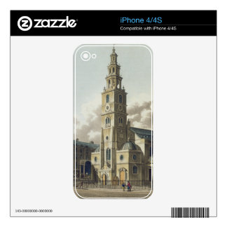 St. Clement Danes Church, pub. by Rudolph Ackerman Skin For The iPhone 4