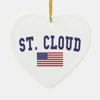 St. Cloud US Flag Ceramic Ornament
