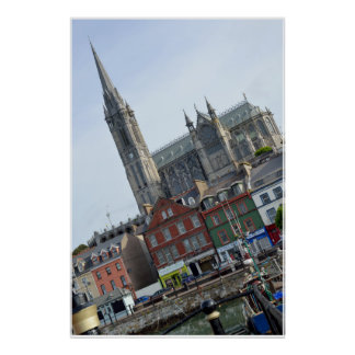 St Colman's Cathedral above cobh town and bay Poster