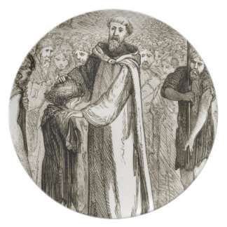 St. Columba blesses a wild boy, from 'The Trias Th Plate