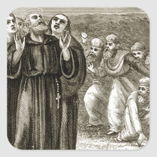 St. Columba chanting, and attacked by the Druids, Square Sticker
