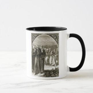 St. Columba que canta, y atacado por los druidas,