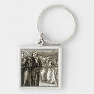 St. Columba que canta, y atacado por los druidas, Llavero Cuadrado Plateado