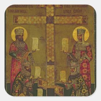 St. Constantina y St. Helena Pegatina Cuadrada