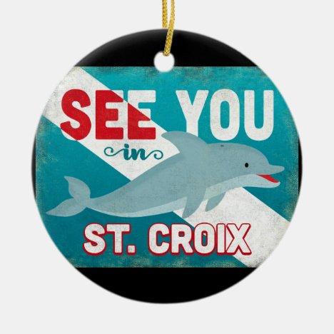 St Croix Dolphin - Retro Vintage Travel Ceramic Ornament
