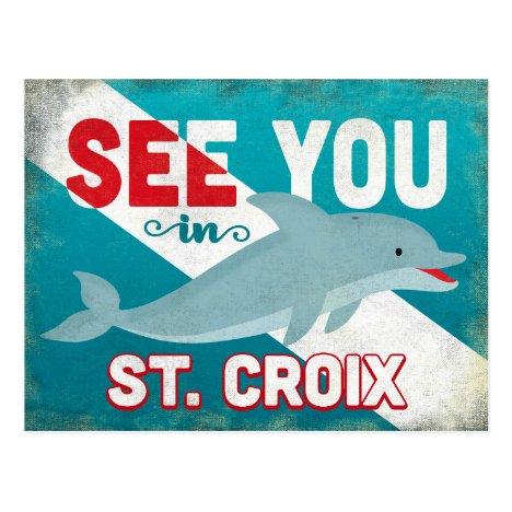 St Croix Dolphin - Retro Vintage Travel Postcard