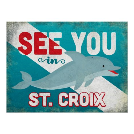 St Croix Dolphin - Retro Vintage Travel Poster