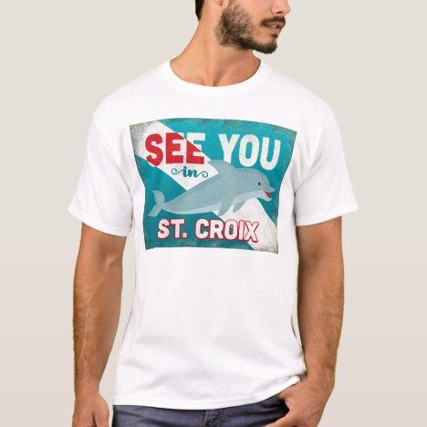 St Croix Dolphin - Retro Vintage Travel T-Shirt