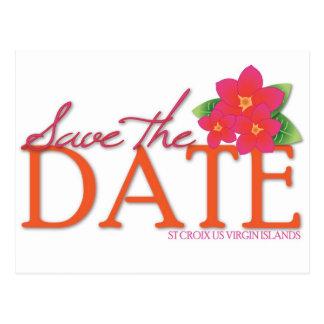 St Croix Pink Frangipani Save the Date Postcard