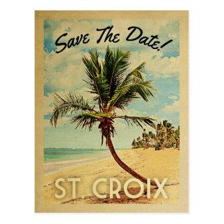 St. Croix Save The Date Vintage USVI Beach Postcard