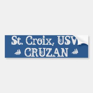 St. Croix USVI CRUZAN - Bumper Sticker Car Bumper Sticker