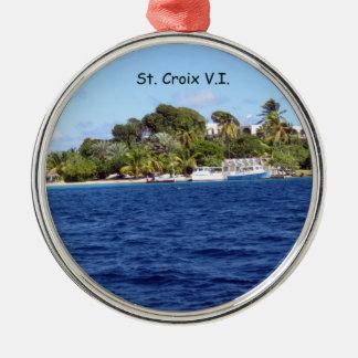 St. Croix V.I. Adorno Redondo Plateado