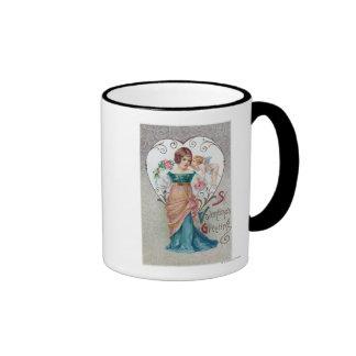 St. Cupid del saludo de la tarjeta del día de San  Taza