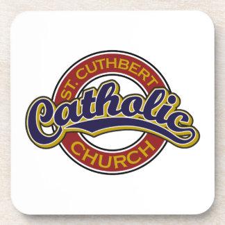 St. Cuthbert Catholic Church Blue on Red Coaster