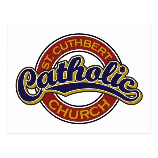 St. Cuthbert Catholic Church Blue on Red Postcard
