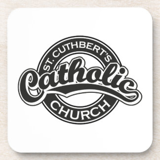 St. Cuthbert's Catholic Church Black and White Beverage Coaster