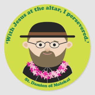 St. Damien of Molokai Classic Round Sticker