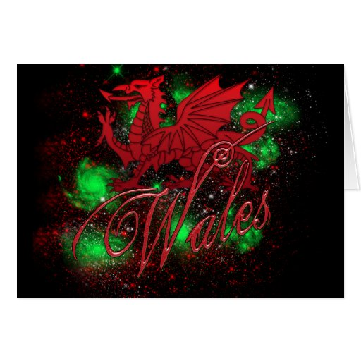 St. David's Day Card, With Wales And Dragon