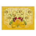 St.David's Day Greeting Card With Daffodils