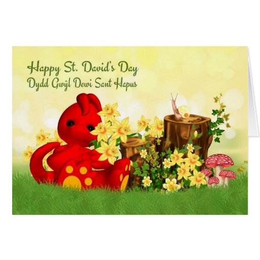 St. David's Day Greeting Cute Dragon & Daffodills Cards