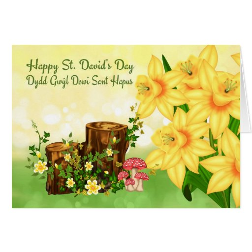 St. David's Day Greeting With Forest Plants And Da Card