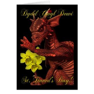 St Davids Day red Dragon Dydd Gwyl Dewi Card