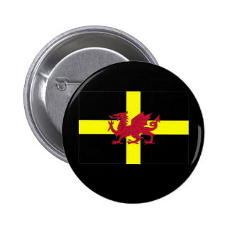 St Davids Day with Dragon Pinback Button