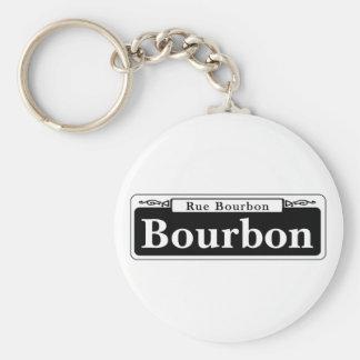 St. de Borbón, placa de calle de New Orleans Llavero Redondo Tipo Pin