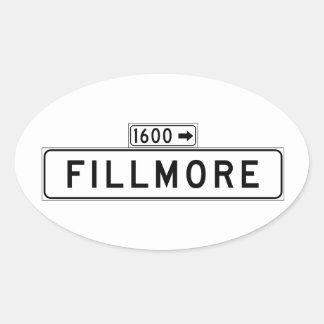 St. de Fillmore, placa de calle de San Francisco Pegatina Ovalada