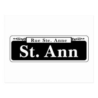 St. de St Ann, placa de calle de New Orleans Tarjeta Postal