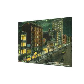 St del mercado en la noche, Pantages, teatro de la Impresión En Lona Estirada