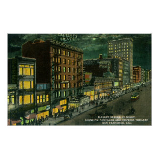 St del mercado en la noche, Pantages, teatro de la Póster