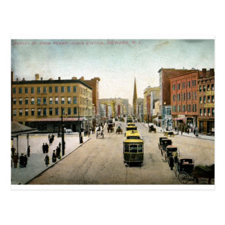 St. del mercado, vintage 1909 de Newark NJ Postal