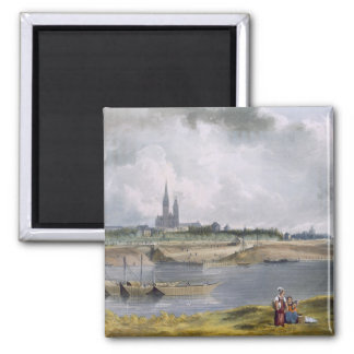 St. Denis, from 'Views on the Seine', engraved by 2 Inch Square Magnet