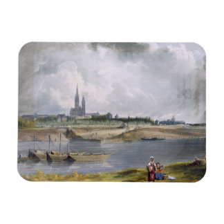 St. Denis, from 'Views on the Seine', engraved by Rectangular Photo Magnet