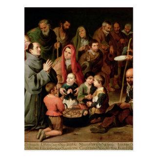 St. Diego de Alcala que da la comida a los pobres Postales