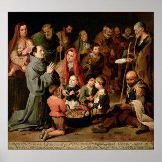 St. Diego de Alcala que da la comida a los pobres Póster