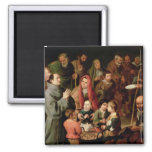 St. Diego of Alcala Giving Food to the Poor 2 Inch Square Magnet