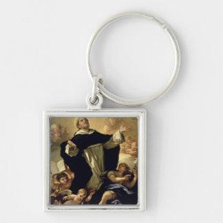 St Dominic, 1170-1221 Llavero Cuadrado Plateado