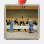 St. Dominic and his Companions Fed by Angels Square Metal Christmas Ornament